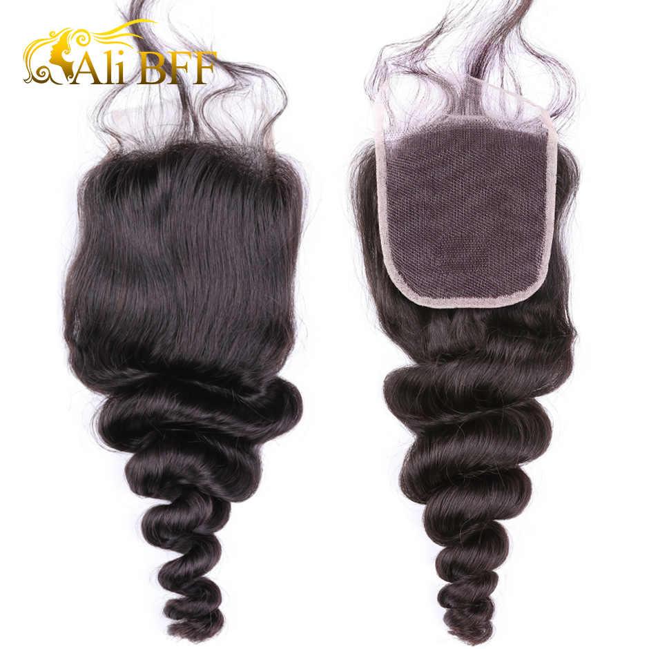 Mechones de cabello humano Ali BFF de onda suelta con cierre extensiones de cabello humano peruanas con cierre tejido de pelo Remy de Color Natural 3 mechones y cierre