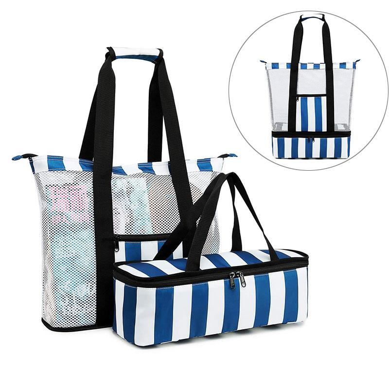 2 Pcs/set Swimming Bag Mesh Bags Wet Dry Bag For Pool Beach Waterproof Pouch Insulated Picnic Cooler Sack Swim Women Men XA58A