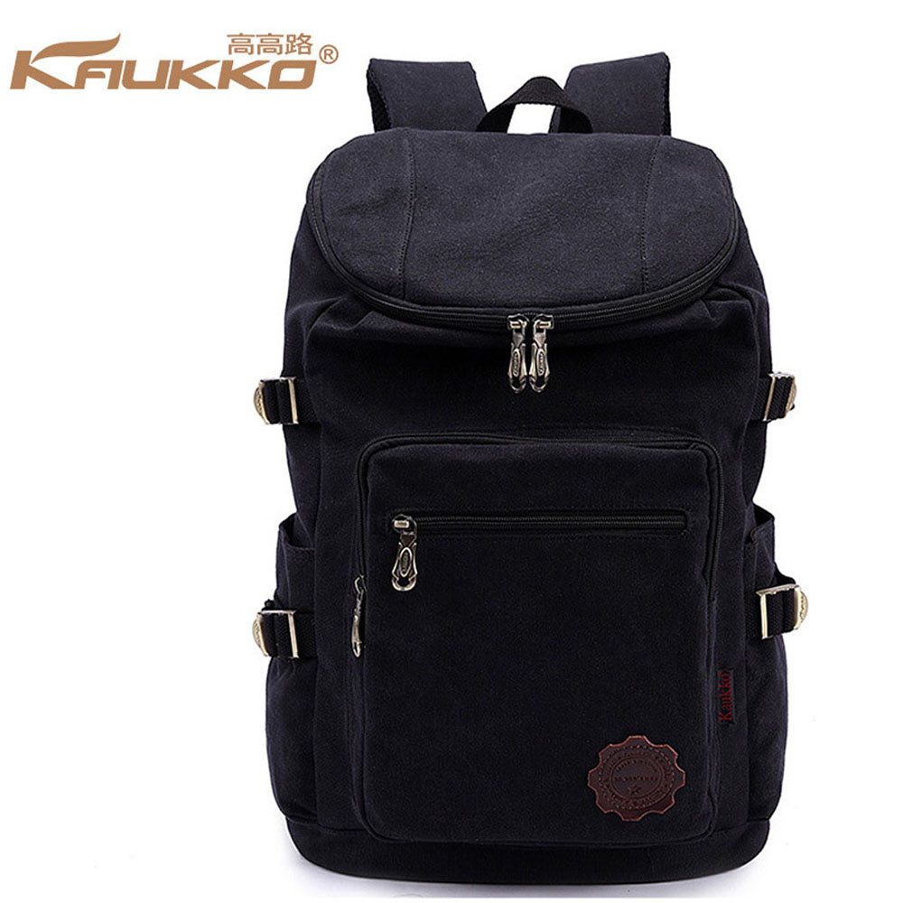 ФОТО KAUKKO Large Capacity 14 to 15 inch Laptop Canvas Backpack Multifunction Practical Men Business Casual School Travel Daypack