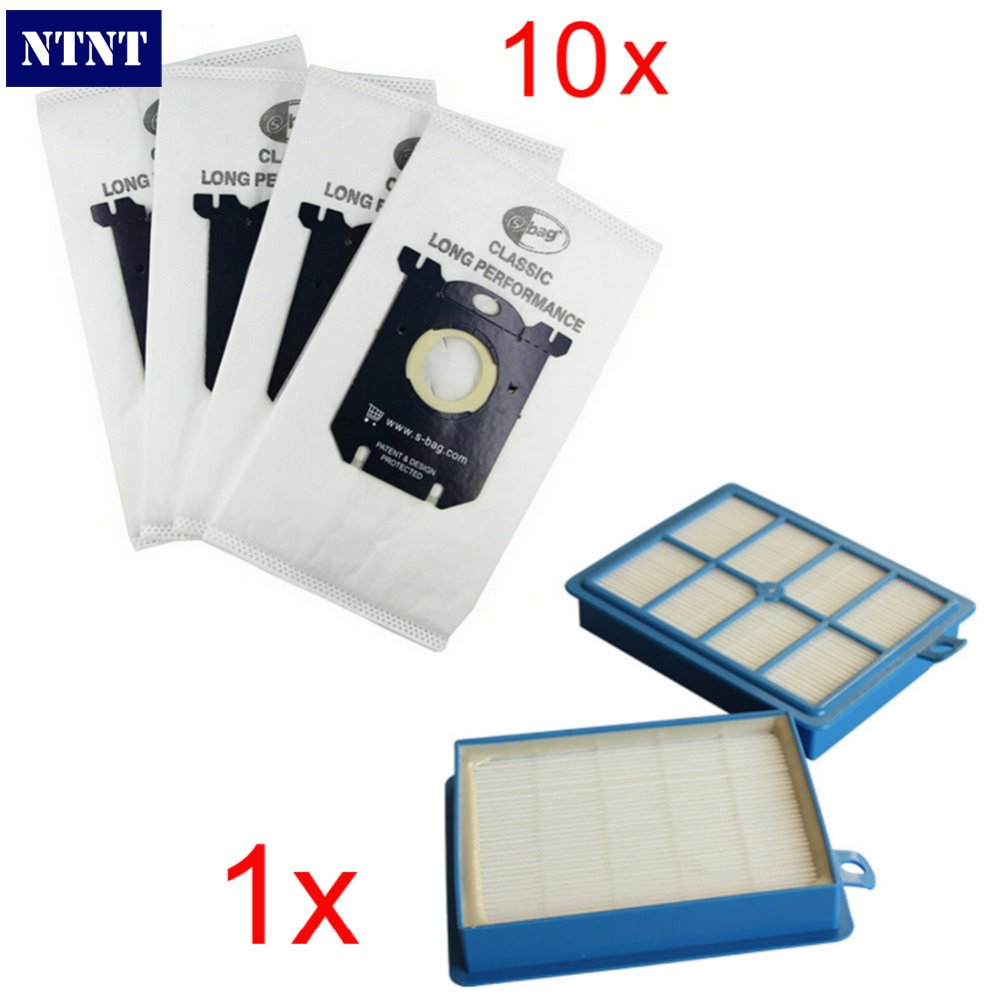 NTNT 1pcs Replacement hepa filter h12 & 10 pieces Vacuum Cleaner Bags Dust Bag for Electrolux Vacuum Cleaner filter and S-BAG 10x vacuum cleaner bags dust bag filter electrolux s bag replacement for philips fc9170 fc9062 fc9161 performer etc