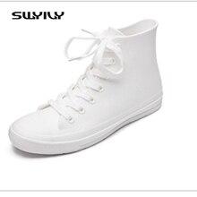 Swyivy Женские резиновые сапоги высокие женские Повседневное Спортивная обувь Обувь водонепроницаемые резиновые сапоги белый Кружево на плоской подошве женщина резиновая воды