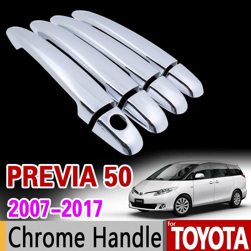 for Toyota Previa 50 2007 - 2017 Chrome Handle Cover Trim Set XR50 Estima Tarago 2009 2011 2013 2016 Car Accessories Car Styling for toyota hilux 2005 2014 chrome handle cover trim an10 an20 an30 sr5 2007 2008 2010 2013 accessories stickers car styling