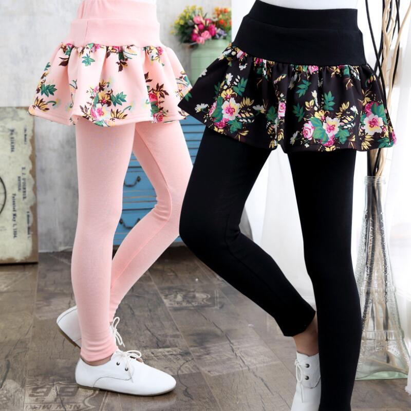2018 Spring Autumn Teenage Girls Leggings Kids Girl Legging Floral Print Cake Skirt Pants Child Trousers Cotton Leggins Jw2911 by Luvsecmin