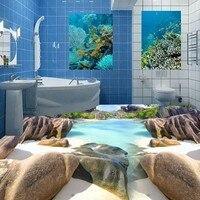 Free Shipping high quality Beach brick stone 3d floor painting waterproof PVC wear floor wallpaper mural