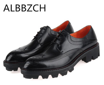Genuine leather brogue shoes men business work dress shoes  fashion carving hick soles height increase wedding shoes size 38-44