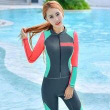 MEIYIER Women Wetsuits Triathlon Patchwork Diving Suit Slim One-Piece Swimwear Zipper Bodysuit Female Spearfishing Wet Suits(China)