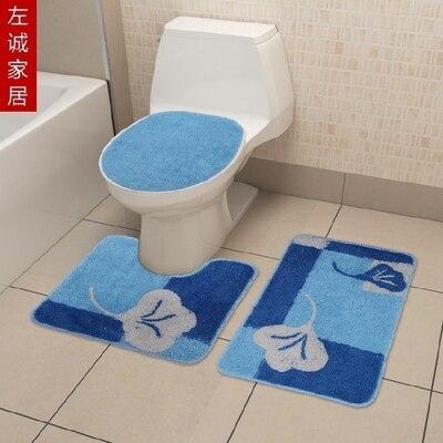 4870 cm 3 pcs tapis de bain et toilette rgl bleu en daim tapis - Tapie Salle De Bain Aliexpress