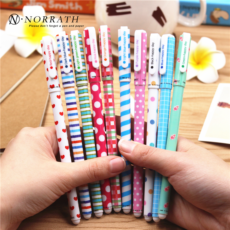 NORRATH 10 Pcs / lot Gel Warna Pen Kawaii Stationery Korean Flower Canetas Escolar Papelaria Gift Office Material School Supplies