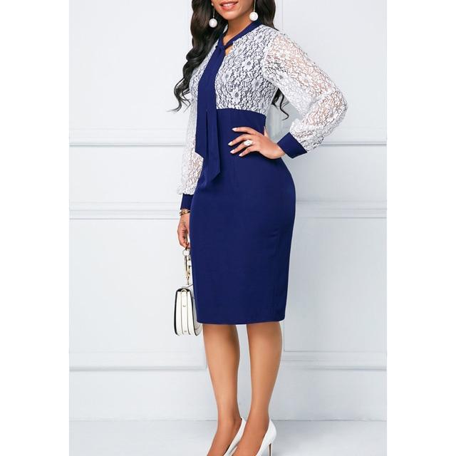 White Lace Summer Autumn Dress Women 2019 Casual Plus Size Slim Office Bodycon Dresses Elegant Sexy Long Sleeve Party Dress 5XL 2