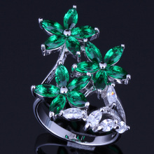 Magic Plant Green Cubic Zirconia 925 Sterling Silver Ring For Women V0094