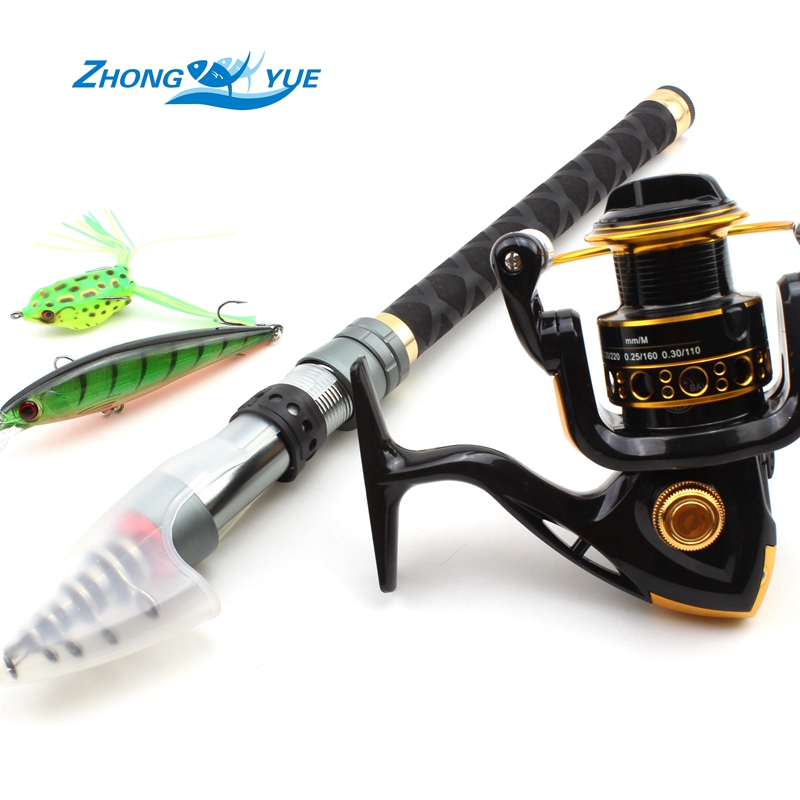 Carbon Fiber Telescopic Fishing Rod With 12BB Spinning Fishing Reel Spinning Fishing Rods Reels Combo Set  Get two free bait! 2 1m fishing rod reel kit telescopic spinning rods portable mini pen fish rod telescope spin fishing pole rod reel combo tackle