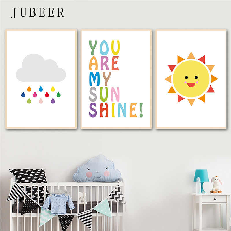 Nursery Decor Gallery Wall Poster Wall Art Rainbow Sun Cloud Canvas Painting You Are My Sunshine Baby Room Decorations for Kids