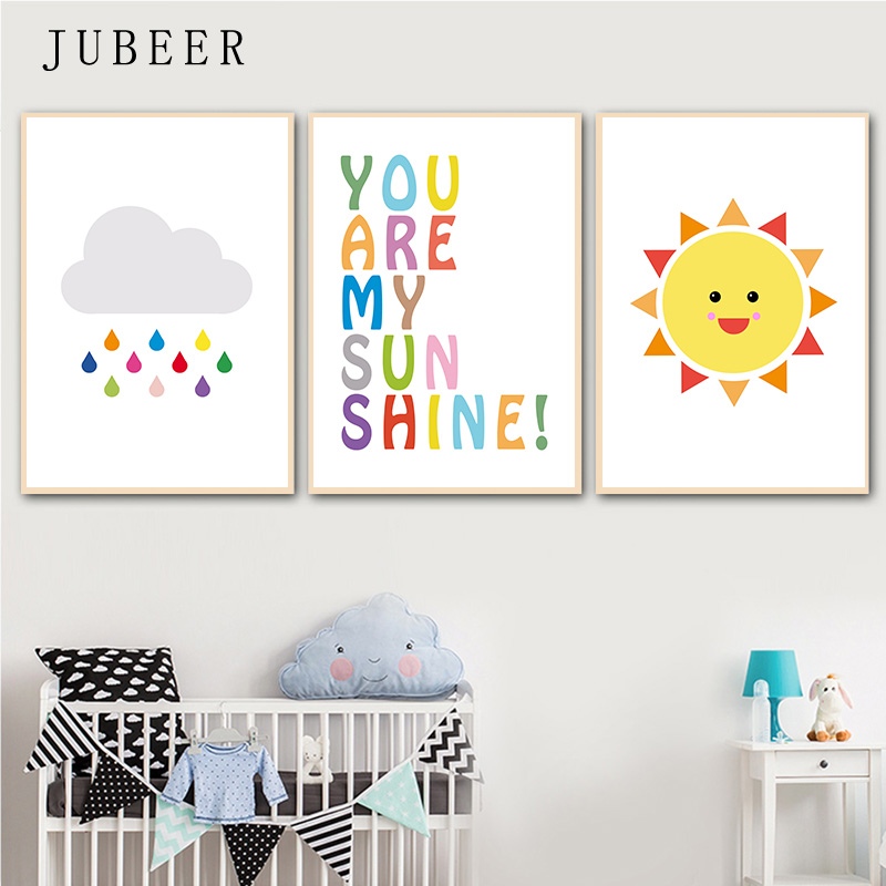 Us 3 77 37 Off Nursery Decor Gallery Wall Poster Art Rainbow Sun Cloud Canvas Painting You Are My Sunshine Baby Room Decorations For Kids In