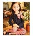 korean kids clothes Girls Houndstooth dress suit ladies suit t-shirt+ leggings 3pcs clothing set