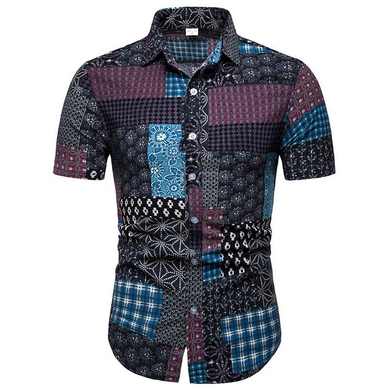 Mens Beach Hawaiian Shirt Tropical Summer Short Sleeve Shirt Men Brand Clothing Casual Loose Cotton Button Down Shirts Plus Size