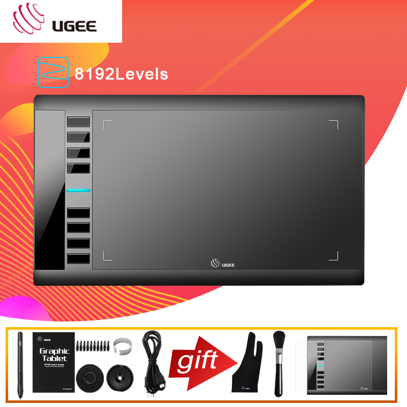 Ugee M708 Digital Graphics Tablet for Drawing 10x6 Painting Pad 8192 Level Graphic Tablet with battery