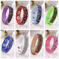 rhinestone jewelry red blue black green brown pink white purple leather shining beads crystal charms adjustable bangle for women