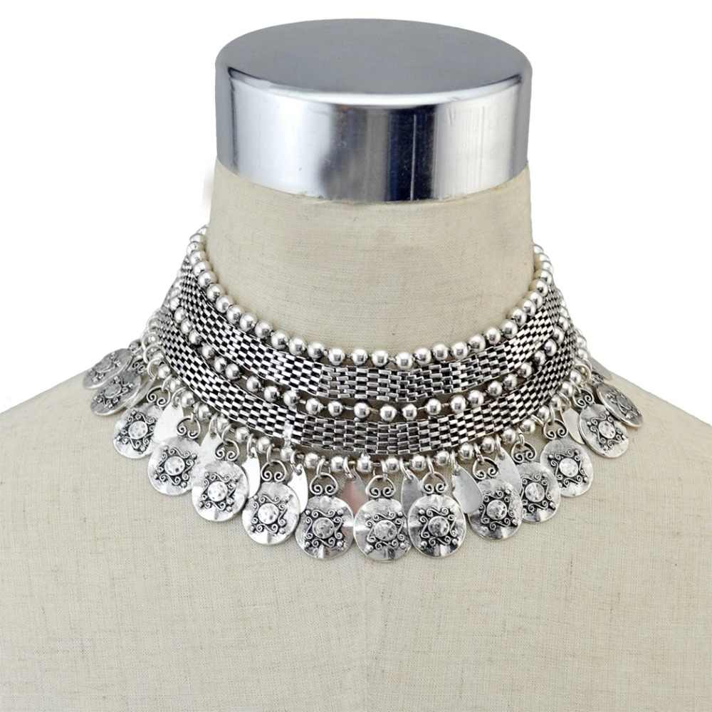 India Jhumka Vintage Silver Coin Necklace Drop Earrings Set Women Turk Tibet Tassel Bib Statement Choker Necklace Afghan Jewelry