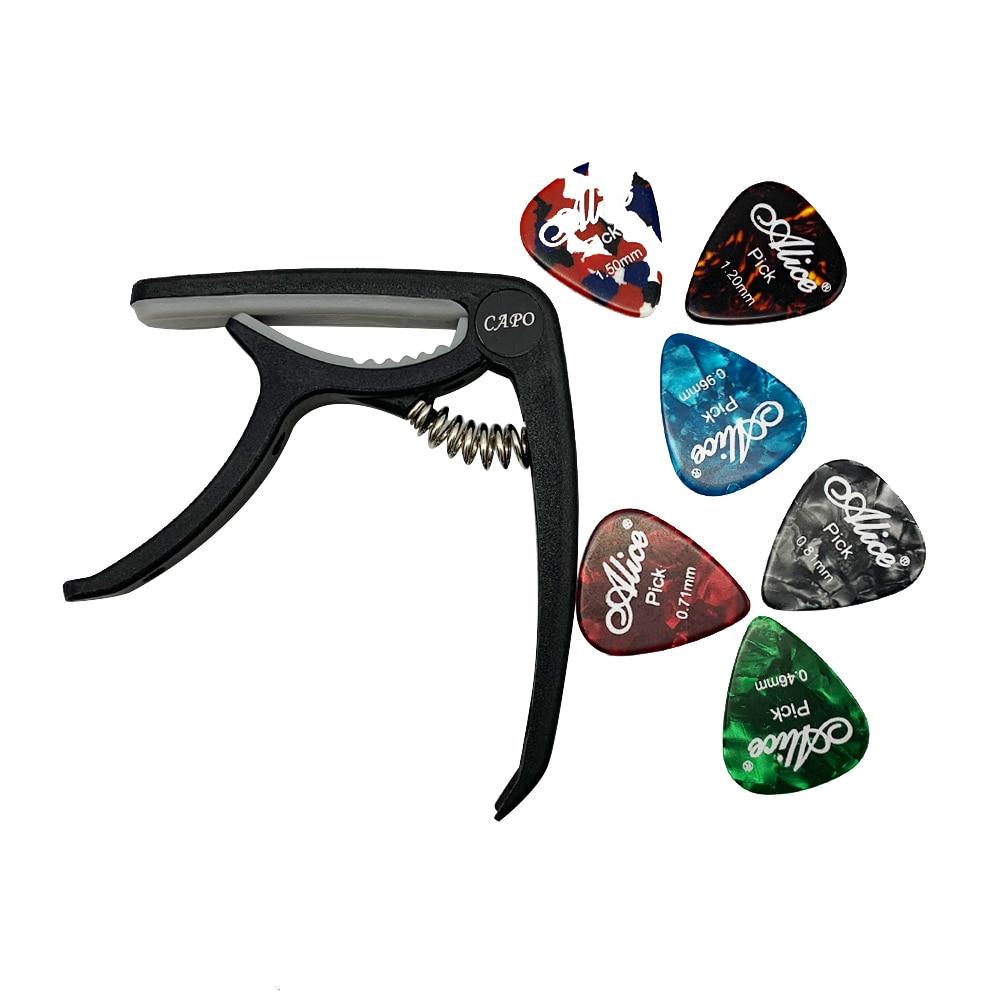 1 гитарный каподастр и 6 гитара Alice медиаторы для акустической и электрической гитары медиаторы аксессуары