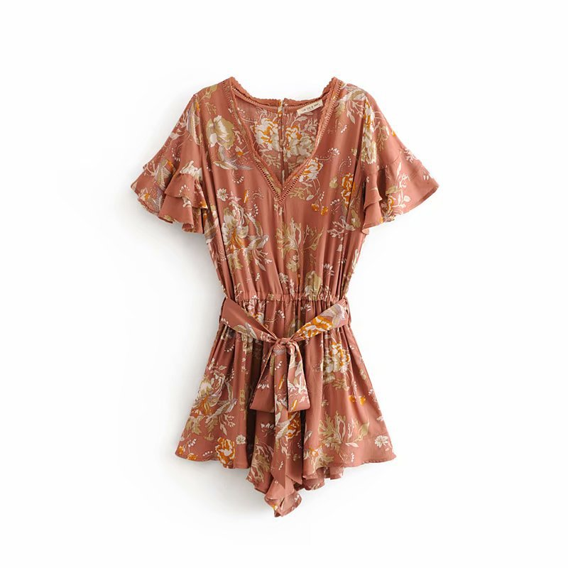 Summer Jumpsuits Women Floral Lace print Cascading Ruffles Beach Playsuits 2018 V neck Butterfly sleeve Flare Jumpsuits C066