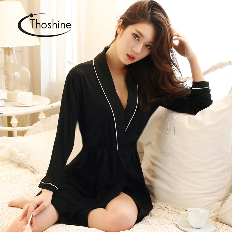 Image 2 - Thoshine 2019 Spring Summer Autumn Women Chinese Silk Satin Robes Female Superior Bath Robes Lady Nightshirt Girl Home Sleepwear-in Robes from Underwear & Sleepwears