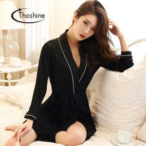 Image 2 - Thoshine printemps été automne femmes chinois soie Satin Robes femme supérieure Robes de bain dame chemise de nuit fille maison vêtements de nuit