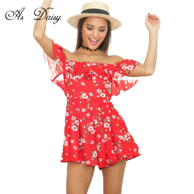 7d023d2f9f As Daisy Off Shoulder Playsuit Red Floral Rompers Womens Jumpsuit Chiffon  Bodysuit Ruffles Sexy Playsuit Wholesale JP0006