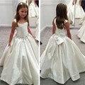Correias Vestido Da Menina Flor branca Com Cintura Frisada vestido de Primeira Comunhão Vestidos Para Meninas Vestidos Pageant