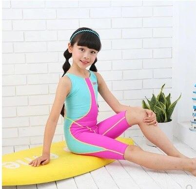 Girl Two Piece Professional Nylon Sport One Piece Swimsuit Kids Surfing Diving Racing Beach Bathing Suit Bodysuit Rashguard Yoga Circles