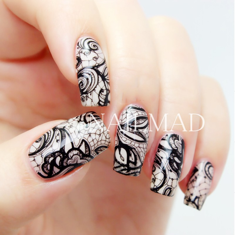 12 patternssheet black lace nail water decals flowers transfer 12 patternssheet black lace nail water decals flowers transfer stickers floral nail art sticker tattoo decals decoration in stickers decals from beauty prinsesfo Image collections