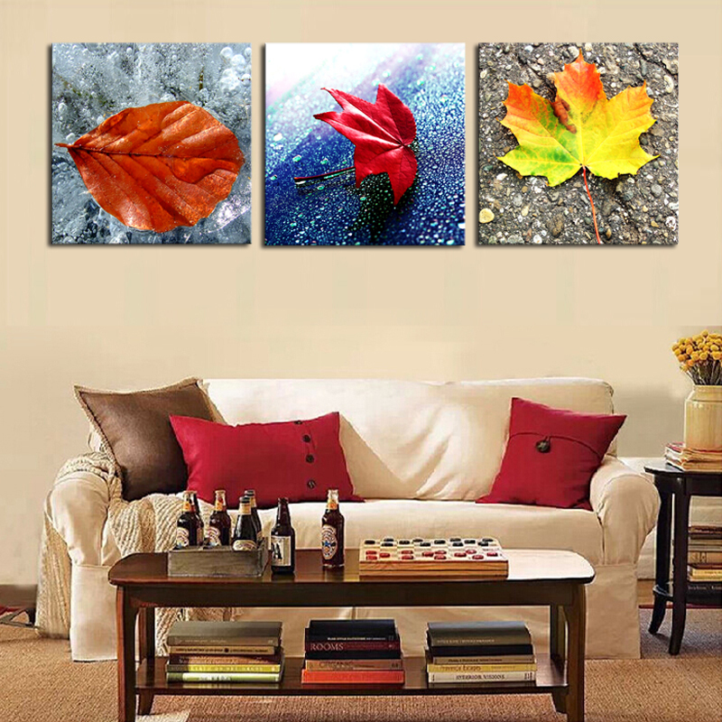 Frameless Yellow and Red Leaves Modern Wall Painting 3 Pieces Wall Art Home Wall Decor Paint By Number Oil Canvas Painting Kits