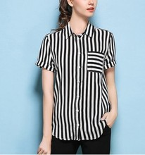 High-quality goods 100% mulberry silk short sleeve shirt classic black and white vertical stripes pocket silk shirts