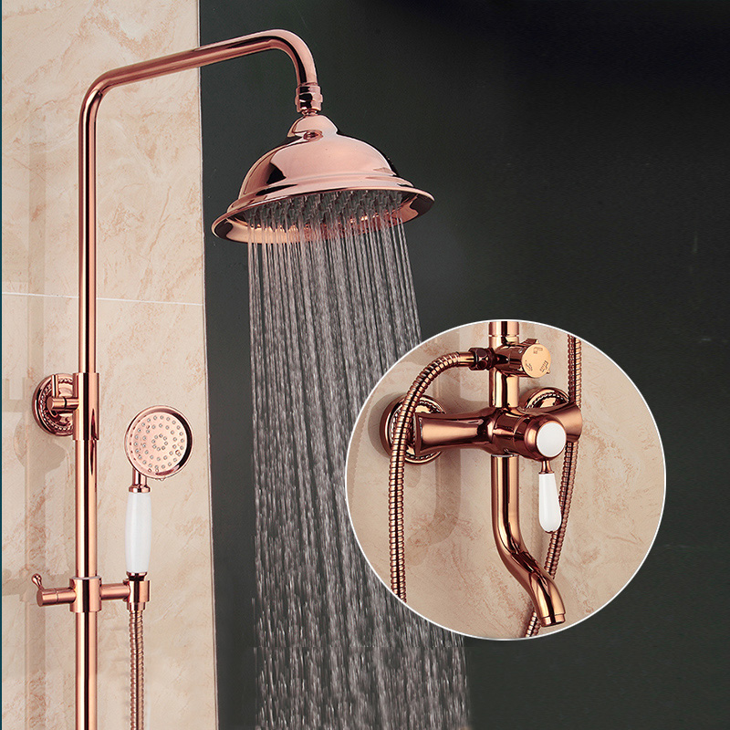 High end Bathroom Shower Mixer Faucet Rose Gold with 8 ...