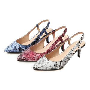 Image 2 - 2019 Spring Women Shoes Pumps Snake print High Heels Shoes Elegant Mid Heeled Sexy Pointed Toe Slingbacks Wedding Party Shoes