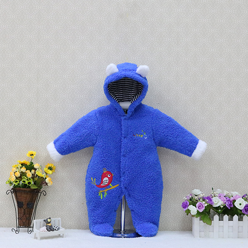 New style baby   rompers   coral fleece newborn overalls hoodie boys and girls clothes One Piece Button Clothing
