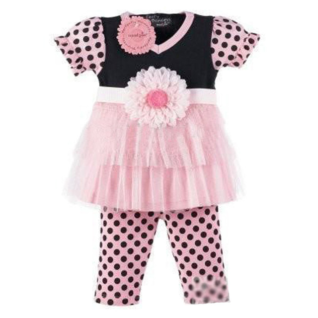 Baby Girl Clothing Set Flower Summer 2017 Baby Girls Clothes Sets Polka Dot T Shirt+Pant 2pcs Kids Clothing Set For Little Girls