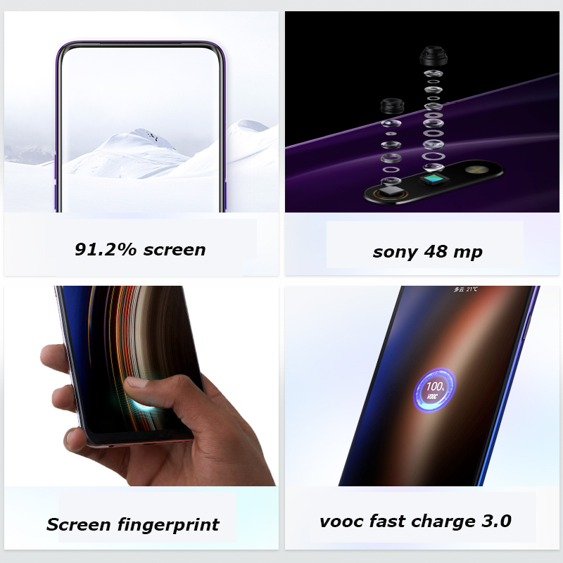 Realme x 4G LTE 4GB  64GB Snapdragon 710 Octa Core 6.53 inch Screen 3765 mAh Dual Rear Camera Cell Phone