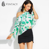 Vintacy Cold Shoulder Ruffles Blouse Women Summer Loose Casual Flare Sleeve Asymmetrical Ladies Shirts Green Print