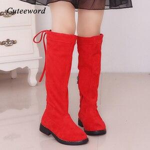 Image 1 - בנות מגפיים מעל הברך מגפי ילדי נעלי סתיו חורף אופנה בנות נסיכה גבוהה מגפי קטיפה חם ילדי כותנה נעליים