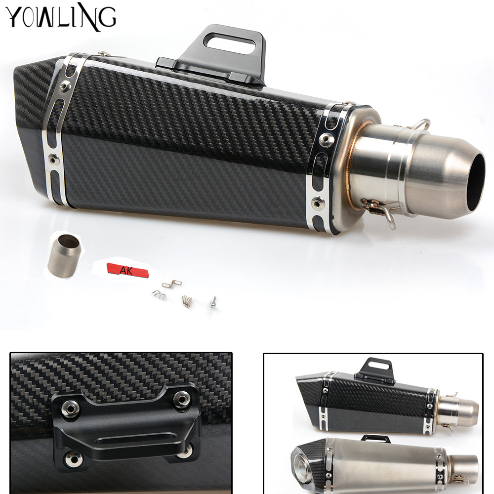 New Motorcycle Real carbon fiber exhaust Exhaust Muffler pipe For YAMAHA YZF R1 R6 FZ1 FZ6 Fazer XJ6 YBR 125 250 motorcycle accessories motorcycle muffler carbon fiber 50mm exhaust pipe fit for yamaha yzf600 r6 yzf1000 r1