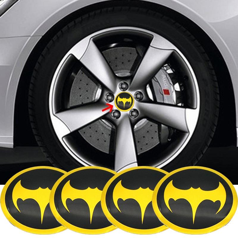 4pcs 3D Metal Bats Car Tyre Steering Wheel Center Hub Cap Batman logo Emblem Decal Badge Symbol Sticker 56mm decals Car Styling