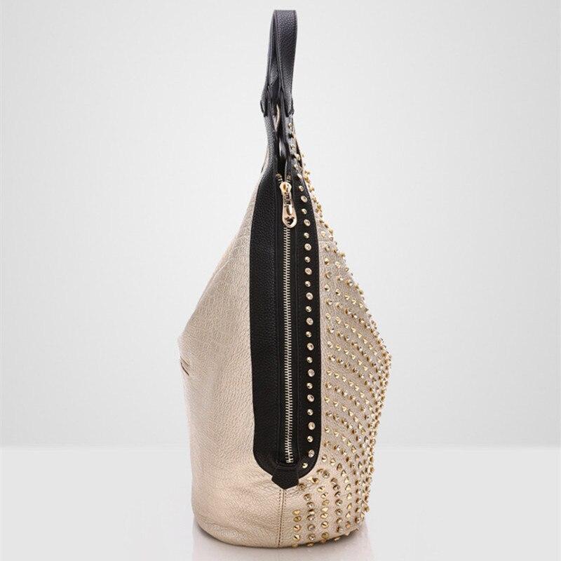 Bagaj ve Çantalar'ten Üstten Saplı Çanta'de Lüks moda elmas Kadın çanta vahşi yumuşak deri kadın omuzdan askili çanta matkap taşınabilir taklidi çanta perçin köfte çanta'da  Grup 3