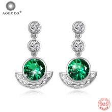 ФОТО swarovski crystal earrings trendy green crystal stone drop earrings for women party fine jewelry 925 sterling silver earrings