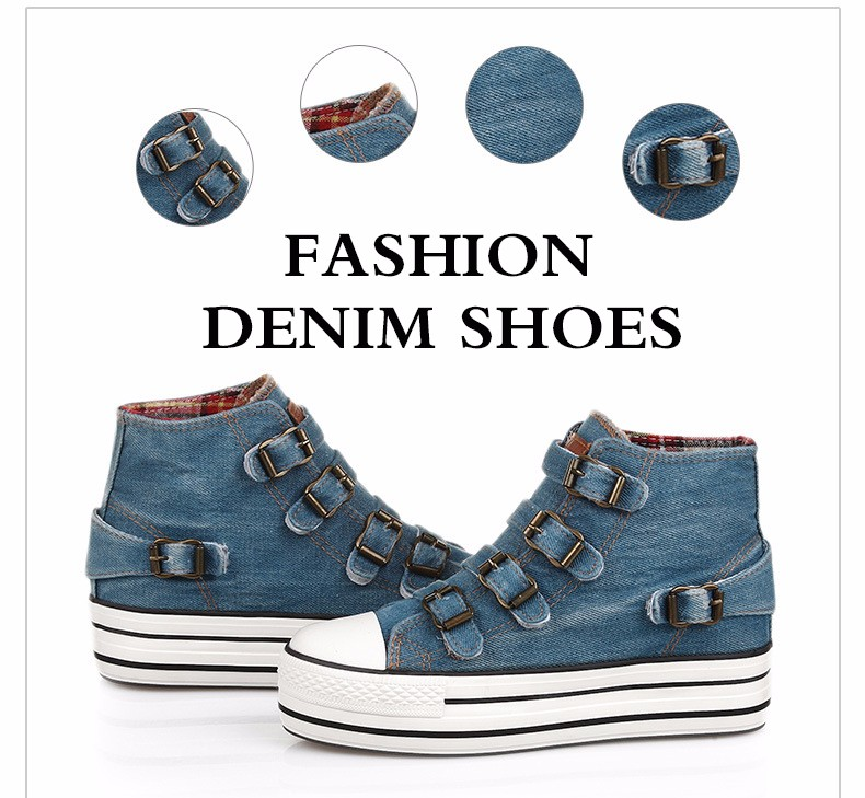 High Top Women Denim Shoes Espadrilles 2016 Fashion Autumn Hide Wedges Canvas Womens Shoes Lace Up Casual Shoes Sapatilha YD135 (25)