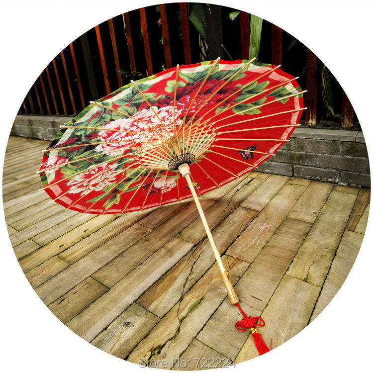 Dia 50cm Free shipping red elegant peony painting umbrella waterproof and sunshade wedding props umbrella oiled paper umbrella dia 84cm chinese handmade red plum blossom oil paper umbrella ancient waterproof sunshade parasol decoration gift dance umbrella