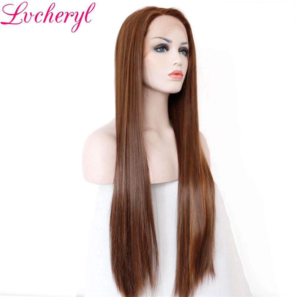 Lvcheryl High Temperature Fiber Dark Brown Highlight Long Straight Hand Tied Heat Resistant Hair Synthetic Lace Front Wigs-in Synthetic None-Lace  Wigs from Hair Extensions & Wigs    2