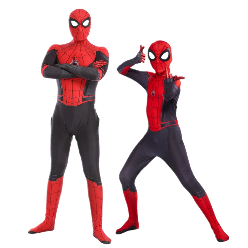 2019 Man Kids Spider Man Far From Home Peter Parker Cosplay Costume Zentai Spiderman Superhero Bodysuit Suit Jumpsuits