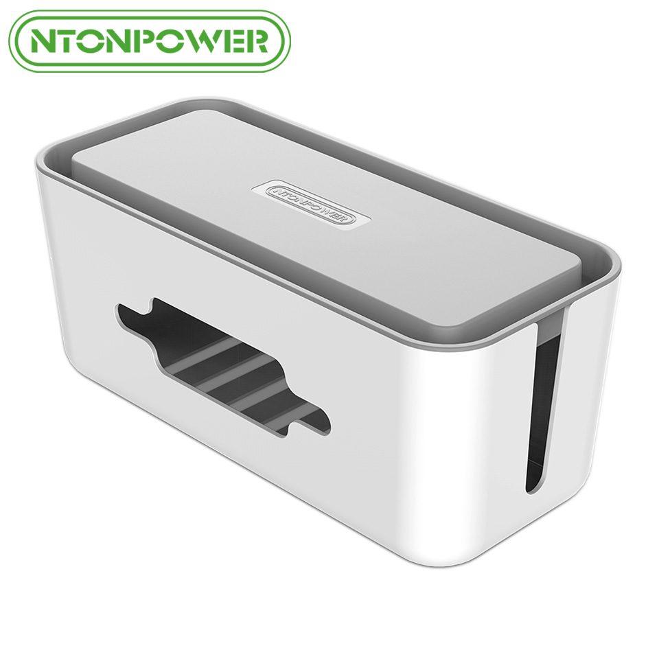 NTONPOWR RMB Hard Plastic Power Strip Storage Box Cable Winder Organizer Wire Collection Container with Cover