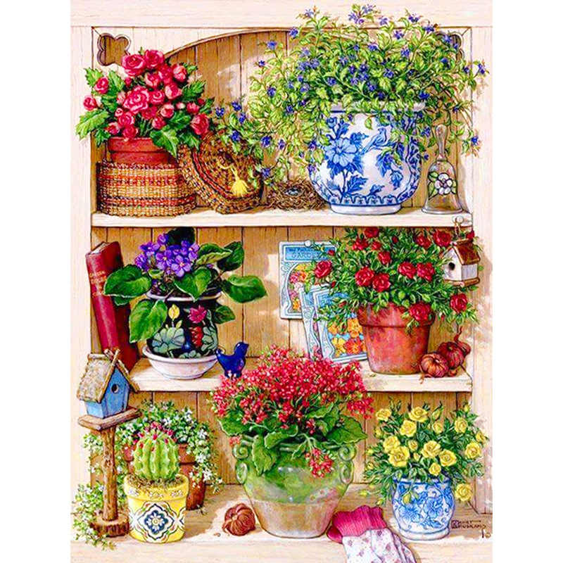 5D DIY Diamond Embroidery Landscape Flower rack Round dril diamond painting Cross Stitch Home Decor Gifts