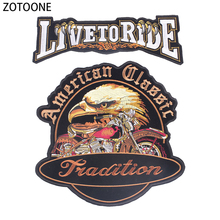 ZOTOONE Live To Ride Iron on Patches for Clothing T-Shirt Diy Eagles Decoration Back Accessories Applications Clothes